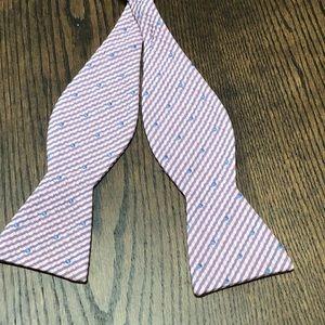 Men's pink gray blue bow tie striped dots self tie